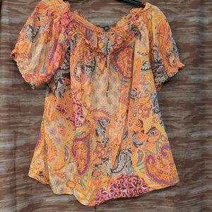 Chaps peasant blouse sz 2X fall colors